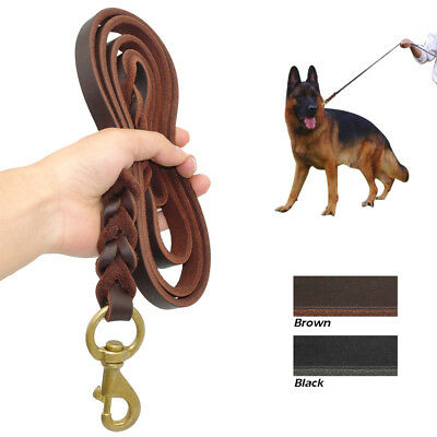 Braided Leather Dog Leash Heavy Duty Leads Clip for Medium Large Dogs Pit bull