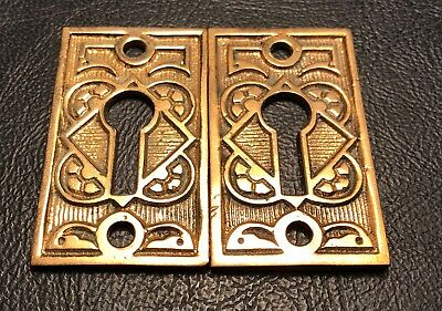 Pair of Antique Vintage Fancy Brass Eastlake Victorian Key Hole Keyhole Covers