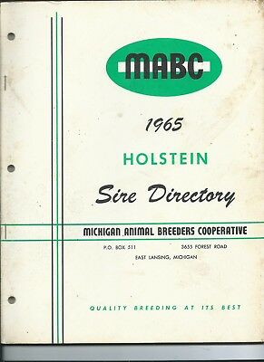 1965 vintage MABC HOLSTEIN Michigan bull SIRE Catalog Directory dairy cow cattle