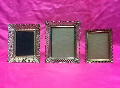 3 Beautiful Antique Vintage Ornate Brass Tabletop or Wall Picture Frames - Nice!