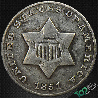 1851  3¢ Type 1, Small Star Three Cent Silver ~ Vg Very Good ~ #3664Ju1