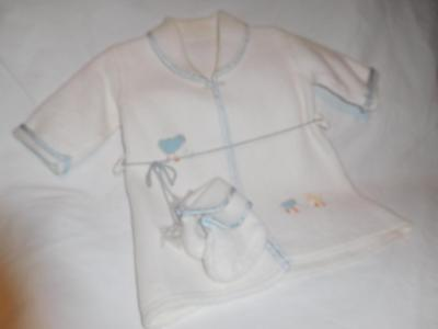 Vintage 1950s Child/Toddler Bath Robe With Slippers Chicks Soft Plush Fleece FAB