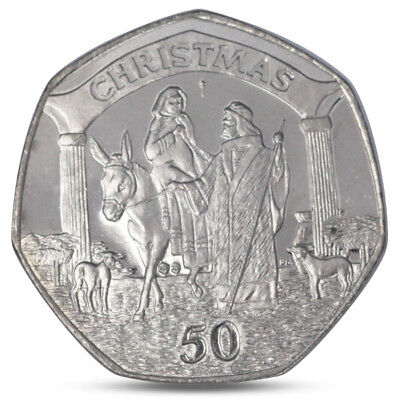 Gibraltar 50 Pence Christmas Xmas Mary On Donkey Joseph Among Lambs 2003 Unc