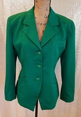 Vintage Christian Dior Blazer Jacket Size 6 Green Casual Office