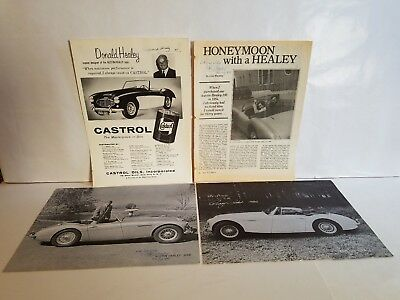 4 Austin Healey Ad autographed Donald Healey, Spec Sheets signed Wheatley Coker