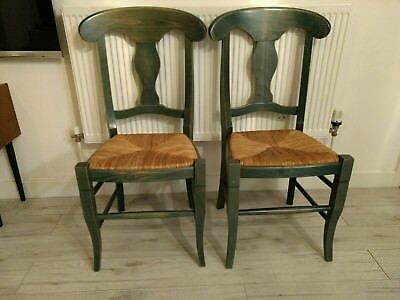 Pair of Green Wooden Rush Dining Chairs shabby chic farmhouse Delivery Possible