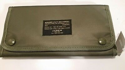 NWT New J. Crew Travel Wallet Passport Ticket Charger Holder Military Green