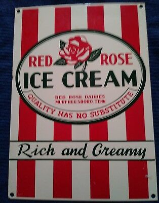 Vintage Red Rose Ice Cream Porcelain Sign Murfreesboro, Tennessee, Usa