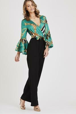 new womens multi colour ruffle sleeve vintage print celebrity inspired jumpsuit