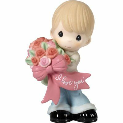 Precious Moments Little Boy Holding Flower Bouquet Love Figurine 172004 NEW