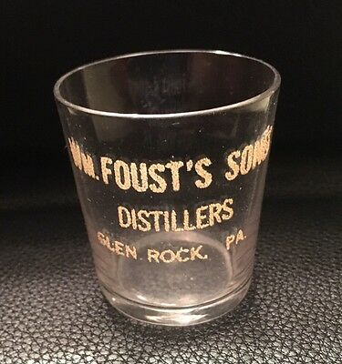 Wm. Foust Sons Whiskey Distillery Enameled Shot Glass -Glen Rock , Pa