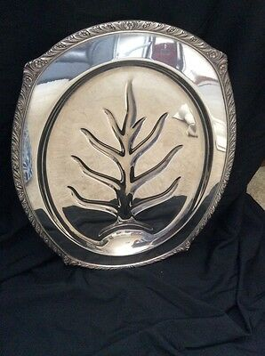 Silverplate Footed Serving Tray With Juice Well By Fine Arts