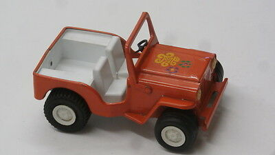 Vintage Tonka Toy Orange Jeep With Tonka Decal On Hood Pressed Steel