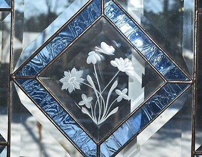 Stained Glass with Etched Glass Flower Sun Catcher in 13.5 x 13.5 Wood Frame