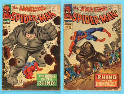 The Amazing Spider-Man #41 and #43 1st and 2nd Appearance of Rhino LOW GRADE