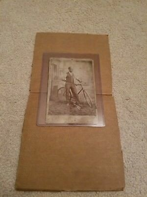 (Rare) ANTIQUE CABINET CARD BLACK AMERICANA BICYCLE WHISKY CUMBERLAND MD