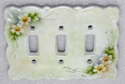 Vintage Porcelain Triple Toggle Switch Wall Plate Hand Painted Flowers Signed