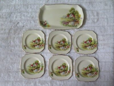 "Royal Winton Grimwades Sandwich Set (7 pieces) ""Red Roof"" Ducks on pond c1950's"