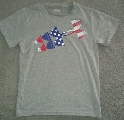 Nwot UNDER ARMOUR HEATGEAR USA GRAY T-SHIRT BOYS 7 EXCELLENT