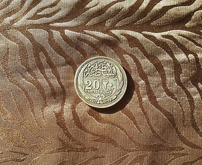 AH1335-1917 Egyptian Currency 20 Piastres, Silver, Sultan Hussein Kamil, KM #321