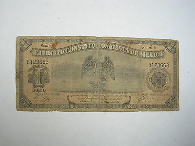 Mexico Chihuahua 1 Peso 1915 #p Scarce Series A Mexican Revolution Paper Money