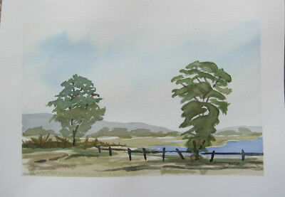 WATERCOLOUR hand PAINTED pastel colours PEACEFul lake TREES hills FENCE bush