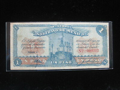 Mexico Toluca 1 Peso 1915 S881 Revolution War 32# Currency Banknote Paper Money