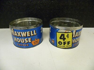 2 Vintage Maxwell House Coffee Cans 4 Cents Off Logo Advertising Cans