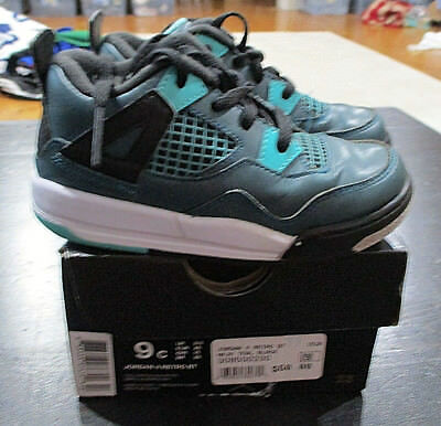 a184cff16f8ad3 Nike Air Jordan Retro 4 Teal Black Shoes Sneakers Youth Size 9c 9 C Boys  Kids
