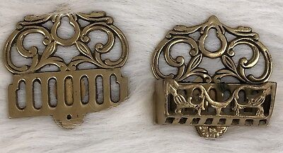 Vintage A America Solid Brass Wall Hangings Matchbox Holders Hand Crafted
