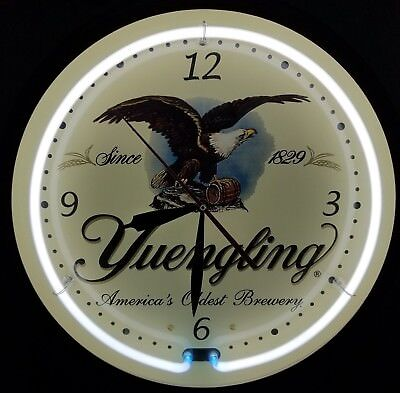 "Yuengling Neon Wall Clock 20"" Americas oldest brewery since 1829 beer light sign"