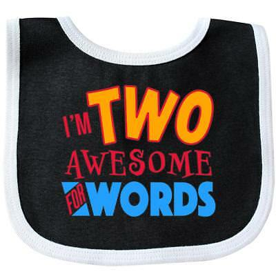 Inktastic I'm Two Awesome For Words- 2nd Birthday Baby Bib Birthdays Second 24 2