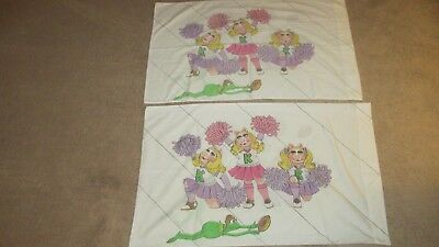 Vintage Muppets Miss Piggy Kermit The Frog Cheerleader Pillow Cases Set Of 2
