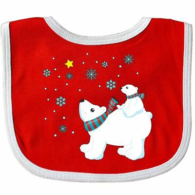 Inktastic Christmas Polar Bear And Cub With A Star Baby Bib Holiday Winter Snow