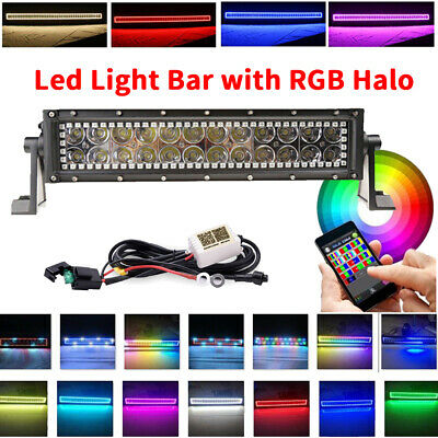 "13.5"" Inch Off-road Led Light Bar Work Flood Spot Combo RGB Halo Ring Chasing"