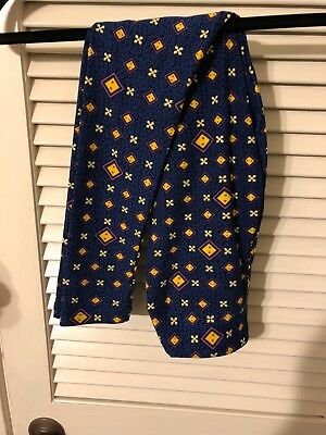 LulaRoe Tween Child's Leggings Navy  and Periwinkle  Background Purple Diamonds