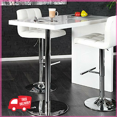 High Gloss White Breakfast Bar Table Dining Kitchen Stand