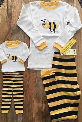 Nwt Leveret Bee Print Cotton 2 Piece Sleepwear And Doll Outfit, Size 6 Yellow
