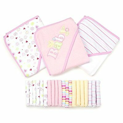 23 PCS Essential Baby Bath Gift Set includes: 3 Hooded Towels and 20 Washcloths