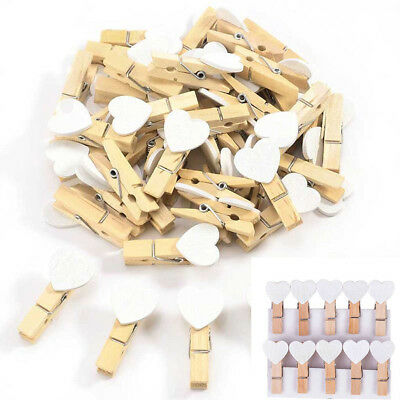 100Pcs Mini Love Heart White Wooden Clips Pegs Clothespin Picture Wedding Party
