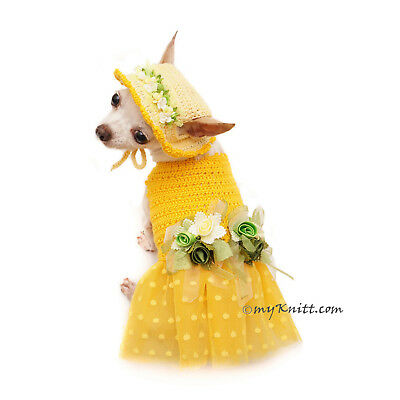 aca180b0873e Cute Dog Dresses Crochet Dog Hat Chihuahua Clothes Flower Dress F101 Myknitt