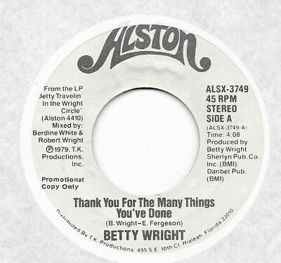 BERRY WRIGHT - Thank You For The Many Things You've Done / Same (45)