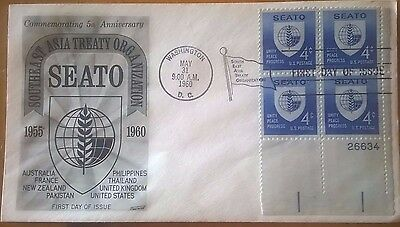 First day of issue, 1960 5th annv SEATO, 4 cent plt blk 4 Scott #1151