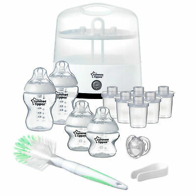 Tommee Tippee Electric Steam Steriliser Set Baby Bottles Feeding Starter Kit