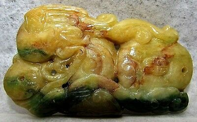 Antique Chinese Qing Imperial Yellow Jadeite Toggle Buddhist Qilong Dragon Charm