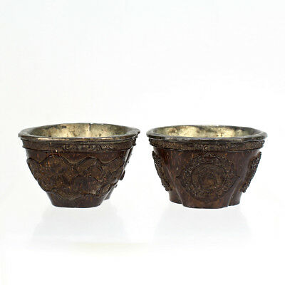 2 Old Or Antique Signed Chinese Carved Coconut Shell Libation Cups - VR
