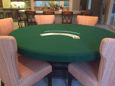 "Green Poker Felt Table cover - fits 60"" round table - elastic edge bl - mto"