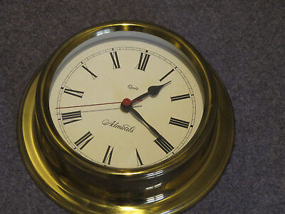 Wall Clock - Nautical Style - Brass Case - Sweep Hand
