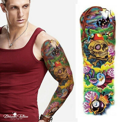 Realistic Temporary Tattoo Sleeve - 8 Ball Psychedelic Skull Mens Womens Kids