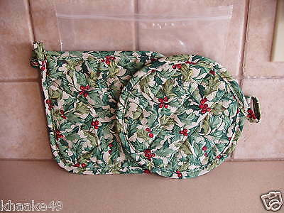"""Longaberger American Holly Berry Pot Holders 8"""" Square & 8"""" Round Free Shipping"""